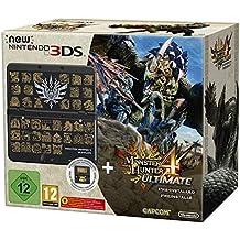 Console New Nintendo 3DS - Noir + Coque Monster Hunter Pour New Nintendo 3DS + Monster Hunter 4 - Ultimate Préinstallé [Importación Francesa]