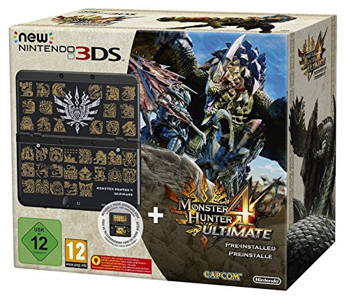 Console New Nintendo 3DS - Noir + Coque Monster Hunter Pour New Nintendo 3DS + Monster Hunter 4 - Ultimate Préinstallé [Importación Francesa]