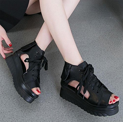 Dicke Kruste Muffin Steigung mit den Fischkopf Schuhe Frühlingsschuhe Xia Song-Kuchen Boden Sandalen Black