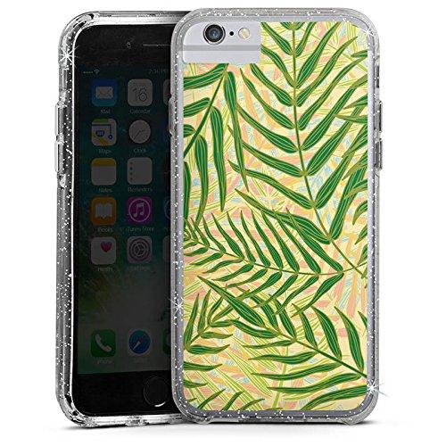 Apple iPhone 6 Plus Bumper Hülle Bumper Case Glitzer Hülle Tropische Tropical Dschungel Bumper Case Glitzer silber