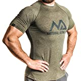 Natural Athlet Fitness T-Shirt Meliert - Herren Männer Kurzarm Shirt Optimal für Fitnessstudio, Gym & Training - Passform Slim-Fit, Rundhals & Tailliert - Sport & Freizeit, Olive, Gr. M