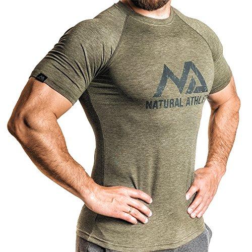 Natural Athlet Fitness T-Shirt Meliert - Herren Männer Kurzarm Shirt Optimal für Fitnessstudio, Gym & Training - Passform Slim-Fit, Rundhals & Tailliert - Sport & Freizeit, Olive, Gr. XL