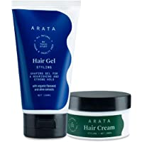 Arata Natural Curl defining Hair Styling Combo with Hair Gel & Hair Cream for Men & Women || All Natural,Vegan & Cruelty…