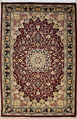 94x157 Pak Persian Design Area Rug with Wool Pile | 100% Original Hand-Knotted in Red,Blue,Beige colors | a 91 x 152 Rectangular Double Knot Pak Persian High Quality Rug