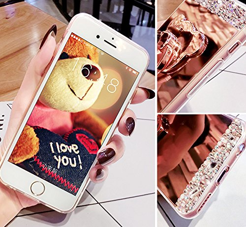 Sunroyal Spiegel Finger Hülle für iPhone 6S/6 Plus Silikon Case Handy Cover, Schutzhülle Bling Diamant Crystal Kirstall Case Durchsichtig, Weichem Silikon Schutzhülle Handy Gürtel Tasche Schutzhülle H Pattern 02