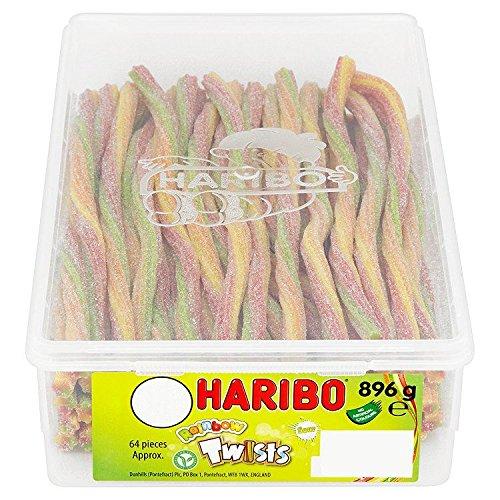 Haribo - Sour Rainbow Twists - Bonbons acidulés en forme de tube couleur arc-en-ciel - 896 g - environ 64 bonbons