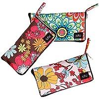 BMC 3pc Mixed Design Foldable Wallet Style Reusable Nylon Shopping Tote Bags - Set 1: Floral Fun
