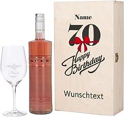 Herz & Heim® Bree Wein Geschenkkiste zum 70. Geburtstag mit graviertem Weinglas und Bree Wein zur Auswahl in