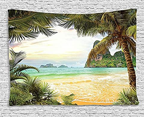 Ocean Decor Gobelin von ambesonne, Palm Coconut Bäume und Ocean Waves in Gebirge auf Paradise Island Beach Bild zum Aufhängen, für Schlafzimmer Wohnzimmer Wohnheim, 60W x 40L Zoll, Grün Braun Creme