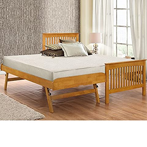 Happy Beds Toronto 3' Single Size Renowned Rubber Wooden Oak Guest Bed With 2x Orthopaedic Mattress