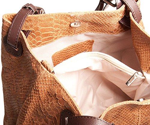 Pelle Italy Damen Henkeltasche Leder mit Prägung 32x28x16 cm (BxHxT), Farbe:Gelb Cognac