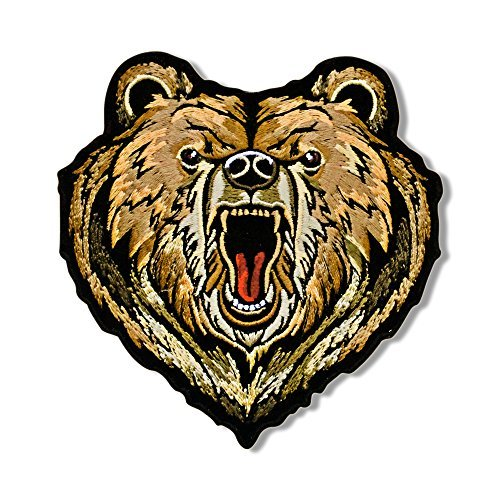 "Hot Leathers, BEAR, Iron-On / Saw-On High Thread Embroidered Rayon PATCH toppa - 4"" x 4"", Heat Sealed Backing"