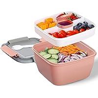 Lunch Box avec 3 Compartiment, Salade Boîtes Repas Adultes / Enfants, Salade Boîte Bento Anti-fuite, Passe au Micro…