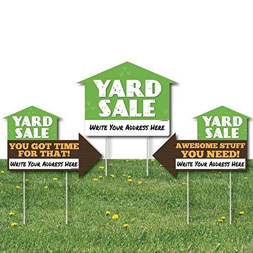 Big Dot of Happiness Yard Verkauf Zeichen-Yard Zeichen mit Spießen-Doppelseitig Outdoor Rasen Sign-Set of 3