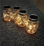 Masunn Solar Powered 2m 20LEDS Mason Jar coperchio fata string lampada filo per Garden Decor Warm White