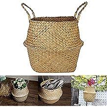 Youmu Natural cesta de junco marino. Con asa plegable ropa caja de juguete y de almacenamiento bandejas de guardería cesta maceta de tamaño grande (11,8pulgadas x 13,3pulgadas)