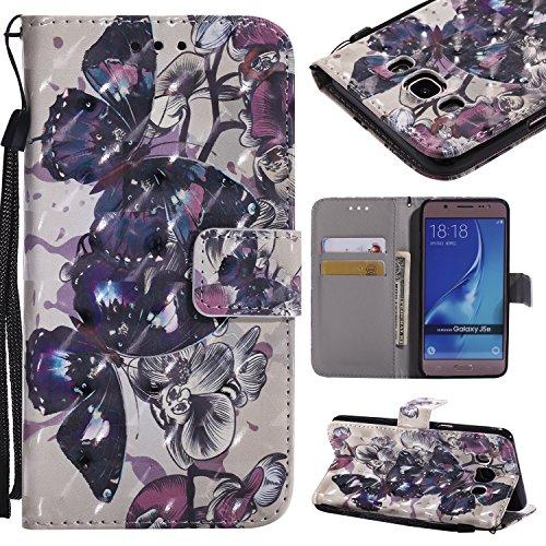 Coque Samsung Galaxy J5 2016, Anlike Motif 3D Retro Peint Housse Etui portefeuille Pour Samsung Galaxy J5 2016 / SM-J510 (5,2 Zoll) - Papillon noir