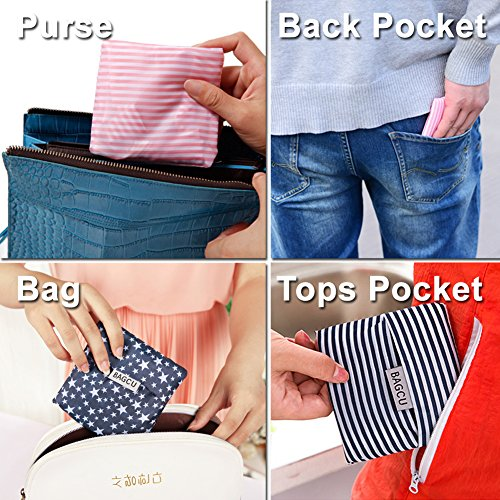 61VT3vJAxGL. SS500  - Bagcu Set of 5 Fashion Reusable Grocery Shopping Bag Foldable Shopping Tote Handy Shape Nylon Recycling Bags for…