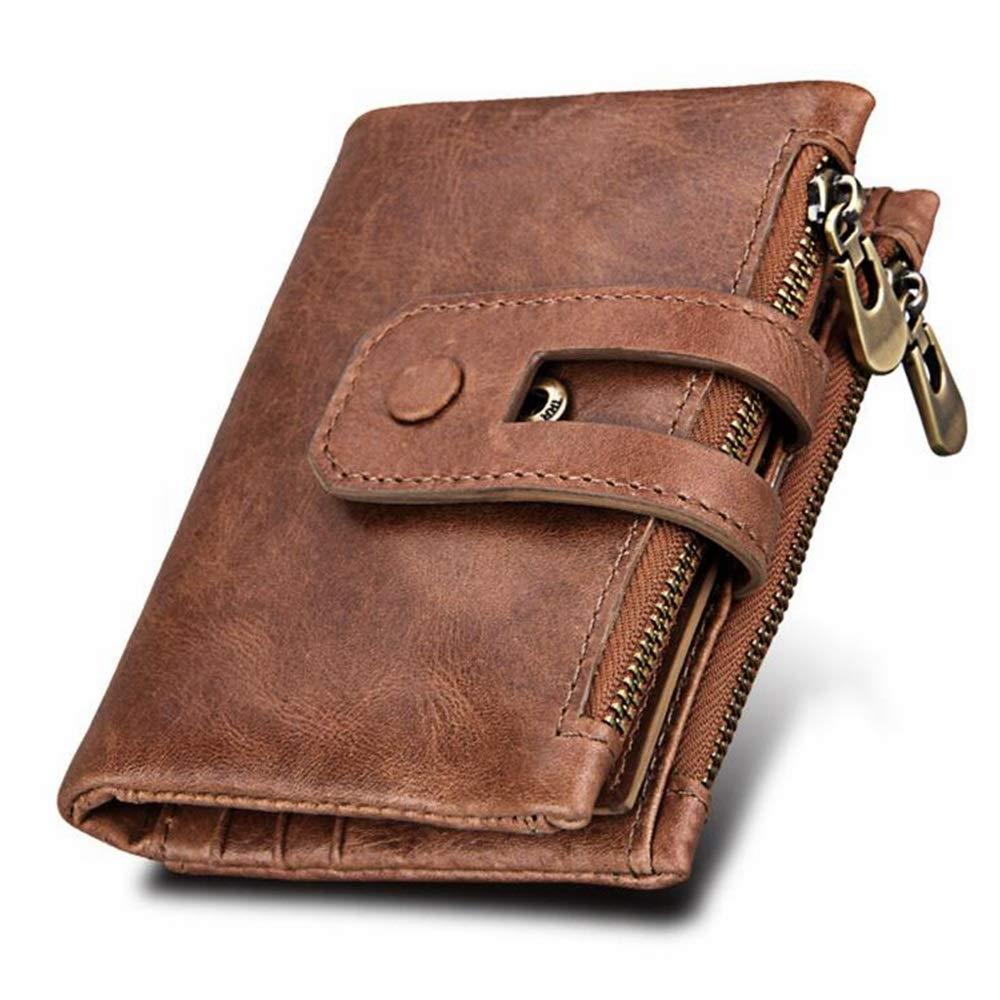 2d9e6f79b3 Portafoglio da uomo, portafoglio in pelle di vacchetta vintage minimalista  con tasca con cerniera pe