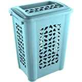 keeeper Laundry Hamper with Insertion Slot and Hinged Lid, Air Permeable, 60 Litre, Per, Aqua Blue