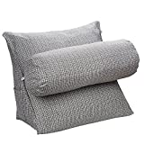 HALOViE Wedge Pillow Triangle Pillow Throw Back Support Angle Pillows Flex Cushion Adjustable Reading Pillow Sofa Bed Office Chair Rest Cushion Neck Support Pearl Wool 47*45*23