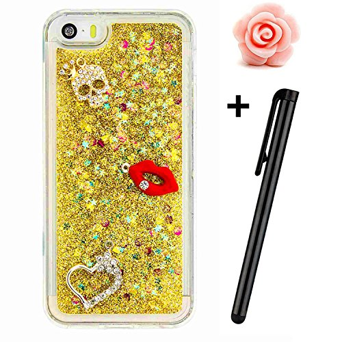 iPhone 7 case, iPhone 7 glitter case, Toyym 3D Bling glitter Flowing Liquid custodia trasparente bumper in gel TPU morbida gomma protettiva case Sparkle Love Hearts with unique Shinny creative modello #2