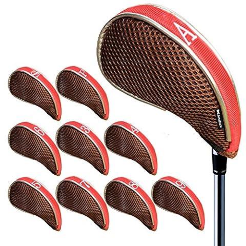 Andux couvre-clubs de golf à maille avez zippé capuchon de golf 10pcs Brune/Rouge MT/YB001
