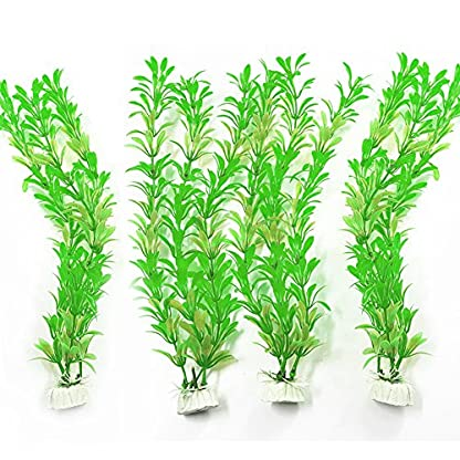 SLSON 4 Pack Aquarium Decorations Plants Green Artificial Plastic Water Plant for Fish Tank Decor,10 Inch Tall 1