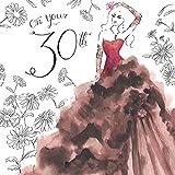 twizler 30. Geburtstag Karte für Ihre mit Swarovski Kristall Finish, silber folieren, Einzigartige Wasserfarben Effekt und Cocktail Kleid–30Jahre–Alter 30Geburtstag–Weiblich Geburtstag Karte