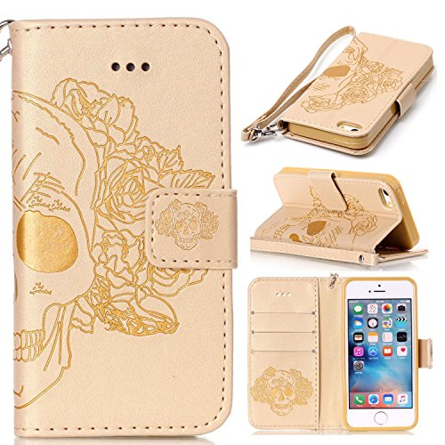 iPhone Case Cover Nouveau style pressé en relief fleurs Windchime motif rétro Folio Flip Stand Wallet affaire avec une dragonne pour IPhone 5S SE ( Color : 5 , Size : IPhone 5S SE ) 12