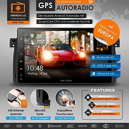 2DIN-Android-60-Autoradio-CREATONE-ABW-9046-fr-BMW-3-Serie-E46-M3-318i-320i-325i-328i-mit-GPS-Navigation-Europa-Quad-Core-Prozessor-Wi-Fi-24GHz-5GHz-Bluetooth-40-Touchscreen-9-Zoll-23cm-DAB-MirrorLink