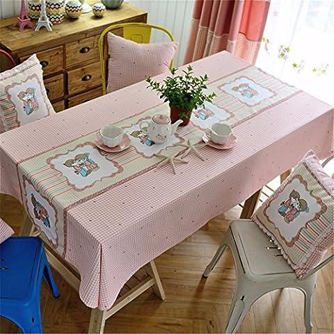 HXC Home rosa Kariert Rastermuster Karton frisch Tischdecken Tischtuch Baumwolle leinen Amerikanisch Esstisch Rezeption rechteckigen Quadrat Nicht bügeln umweltfreundlich