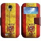 Graphic4You Español Bandera España Vintage Grunge Diseño Cuero Carcasa Funda Monedero con Tapa para Samsung Galaxy S4