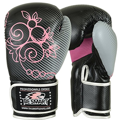 BE SMART besmart Kinder Boxhandschuhe Junior Pad 170,1 Boxsack Kinder MMA Youth Kostenlose Lieferung UK, Damen Kinder, Black & Gray with Pink Flower (Smart Pad Junior)