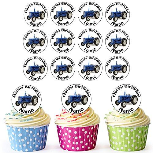 Vorgeschnittener Personalisierter Oldtimer Blauer Traktor - Essbare Cupcake Topper / Kuchendekorationen (24 Stück)
