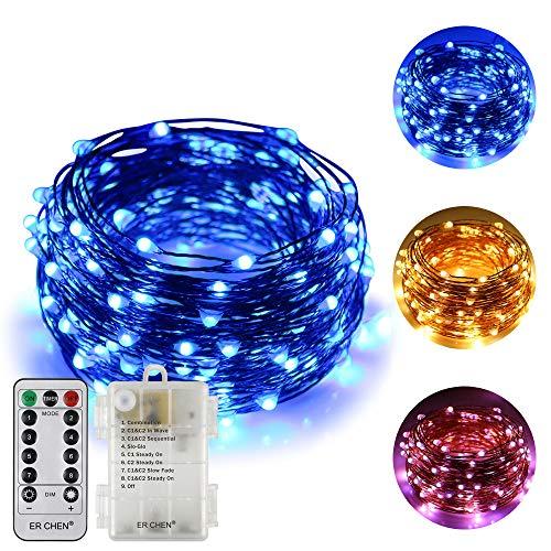(Zweifarbige Led Lichterketten batteriebetriebene ER CHEN, 66 FT 200 Leds ändern dimmbar 8 Farbmodi Kupfer Draht-Lichterketten mit Fernbedienung Timer für Indoor Outdoor Christmas (Warmweiß, Blau))