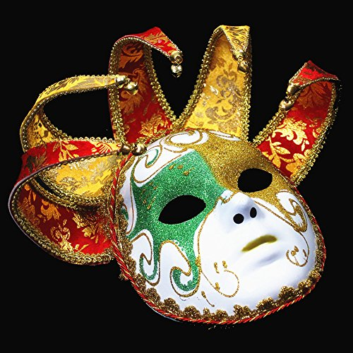 Maskierte Clown Halloween Kostüm Prom Damen Volles Gesicht Gemalt Venedig 5-Eck-Maske - Gesicht Gemalt Kostüm