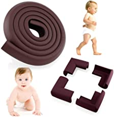 BabyLab Brown Baby Safety Furniture Corner Guards| Safe Edge & Corner Cushion | Child Safety Furniture Bumper | Table Protectors | Pre-Taped Corners