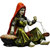 eCraftIndia Rajasthani Lady Statue with Weighing Scale (LxWxH - 6.5INx4.5INx5IN)