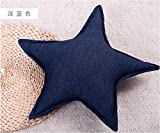 Home Sofa Car Decoration Ornament Hold Throw Pillow Cushion Christmas Valentine Gift Office of the five-pointed star and creative pillow waist cushion,40X40cm,Dark blue
