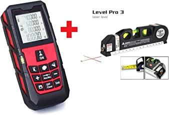 Techtest Pro Light Laser Distance Meter and Level Measuring Device, 40m (Red)