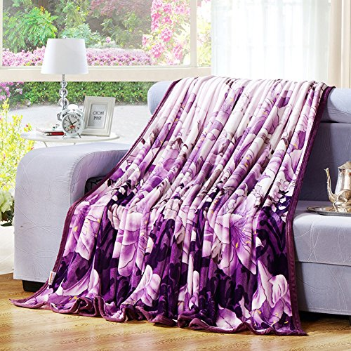 ShineMoon Winter Warm Home Bed Sofa Fleece Blankets and Throws Covers for Kids Adults Travel Snuggle Throw Overs, Purple Lily Pattern, 180x200cm