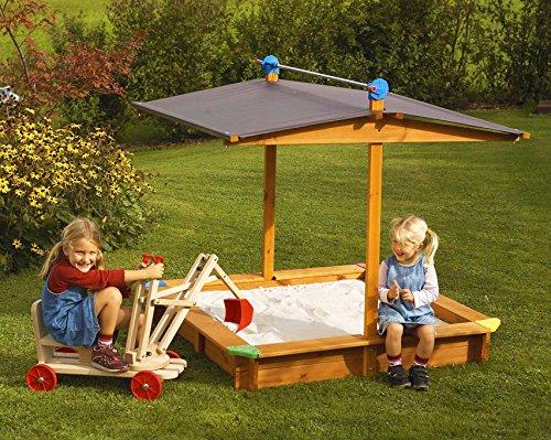 GASPO 310016 – Holz Sandkasten Mickey 140 x 140 cm mit absenkbaren Dach/Kurbeldach