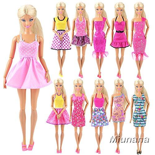 136b16416 15x articulos 5x Vestidos estilo al azar Ropa 10 pares Zapatos Accesorios  como Regalo Navidad para Barbie Muñeca