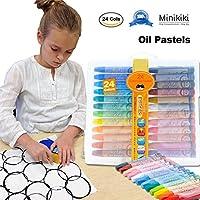 Minikiki Oil Pastels, 24 Cols Smooth Blending Texture Lavable Oil Pasteles Art, Pasteles Suaves, Oil Paint Sticks, Conjunto de Dibujo para niños, Material de Dibujo, Material de Arte Escolar