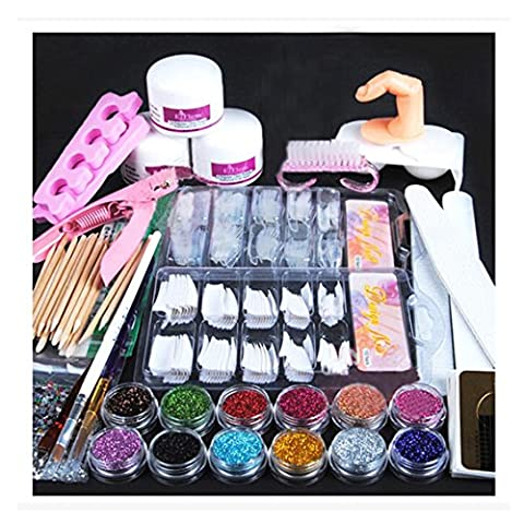Nail Art Polish Set, Transer® Complete Nail Art Beauty Set Professional Acrylic Powder Glitter Nail Brush False Finger Pump Nail Art Tools Kit Set