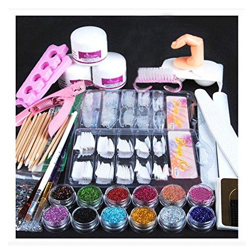 Acryl 1000 Set Nail (Nail Art Nagellack Set, Transer® Komplettes Nail Art Beauty Set Professionell Acryl Pulver Glitzer Nägel Pinsel falsche Fingernägel)