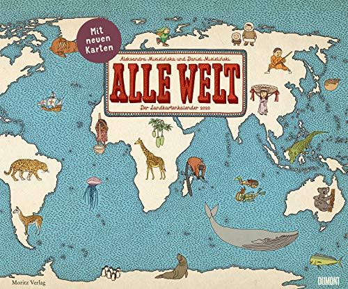 Alle Welt 2020 - Landkarten-Kalender von DUMONT- Kinder-Kalender - Querformat 58,4 x 48,5 cm