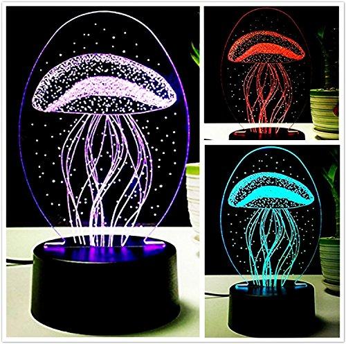3D Acryl Tischlampe, Creative USB Lade Nachtlicht LED Touch Switch 7 Farbe Optische Symphony Lichter Schlafzimmer Nachttischlampe, Kindertag Geschenk