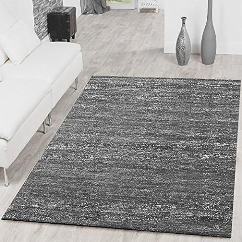 Teppich Braga Modern Kurzflor Teppiche Wohnzimmer Einfarbig Meliert Uni Grau , Größe:120x170 cm